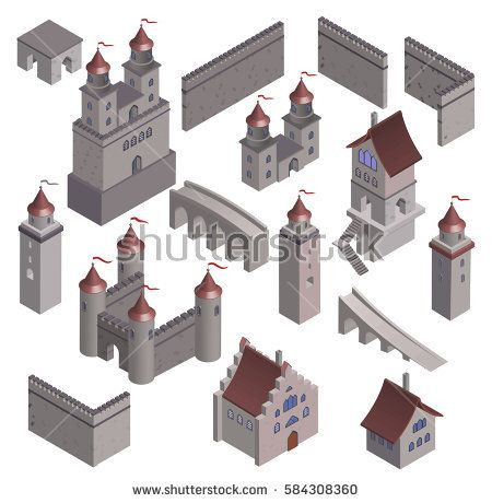 Set Medieval fortress fort. Isometric view vintage medieval building home.