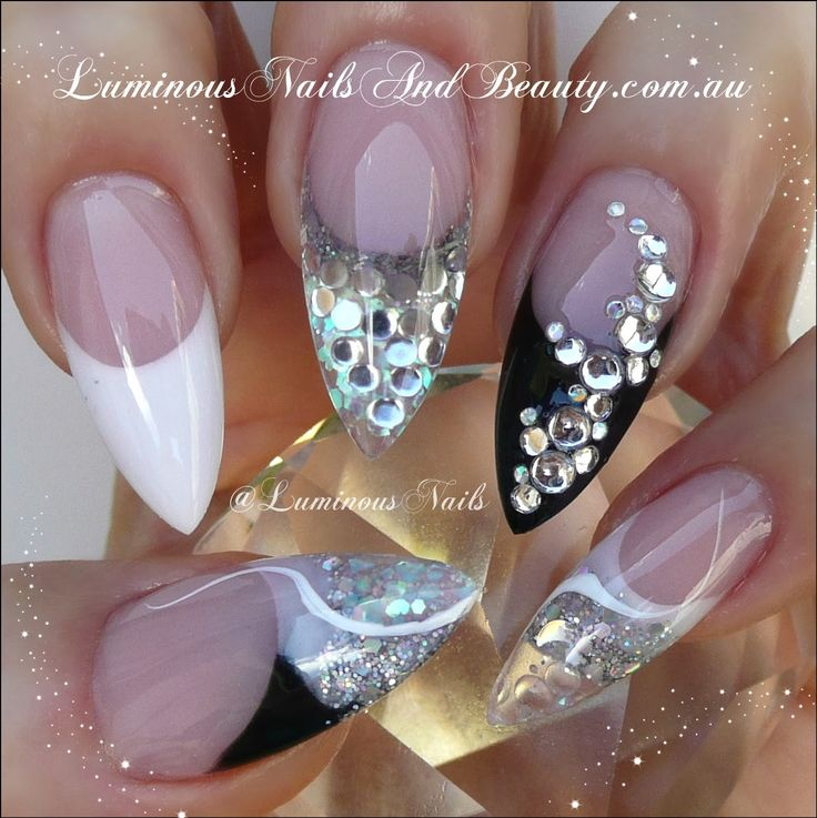 Image Result For White And Silver Pointy Nails