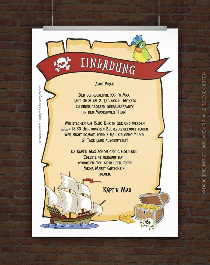 Gestalte Mit Dieser Kostenlosen Vorlage Eine Kindergeburtstagseinladung Für  Eine Piratenparty. Einfach Einladungstext Personalisieren, PDF Druckvorlage  ...