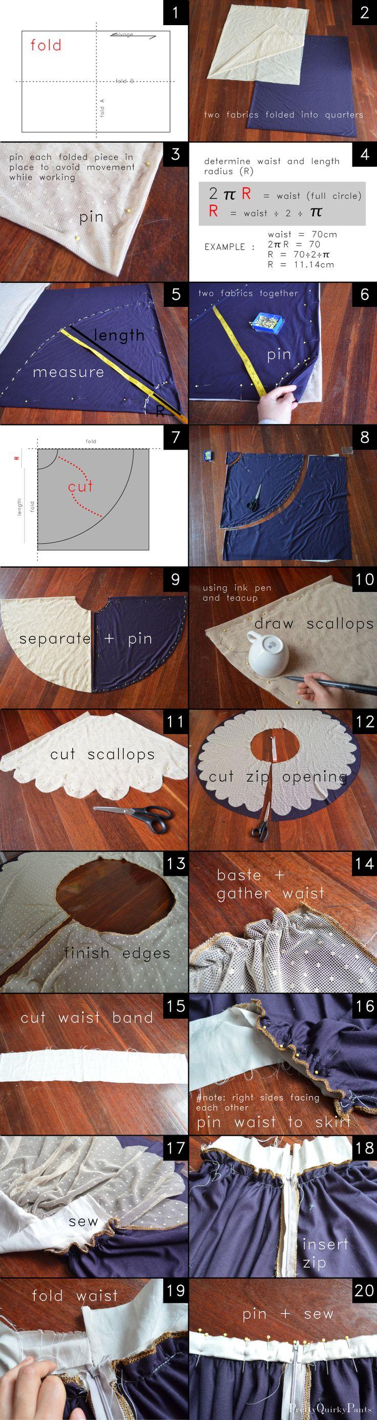 DIY falda de encaje circulo Mini