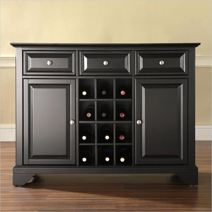 Crosley Alexandria Buffet Server Sideboard Cabinet With Wine Storage In Black
