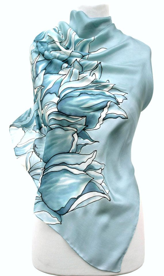 Hand painted silk scarf-bluish greygrayPaintingHand by Aryonelle