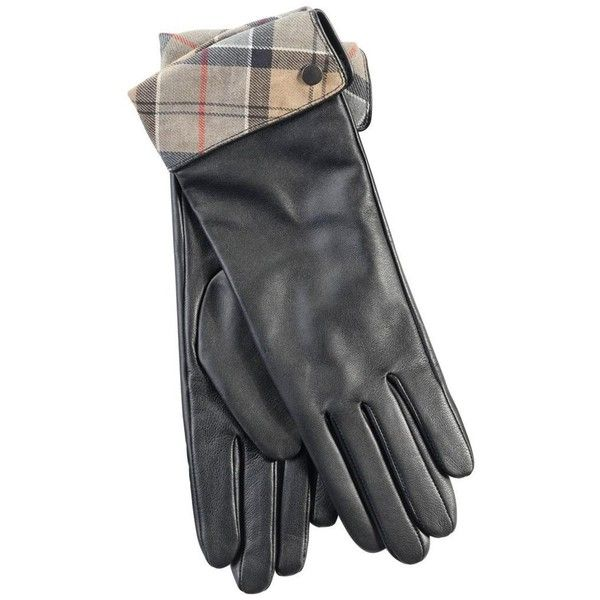 Women's Barbour Lady Jane Leather Gloves - Black / Dress Tartan ($57) ❤ liked on Polyvore featuring accessories, gloves, studded gloves, studded leather gloves, barbour gloves, barbour and fleece lined gloves