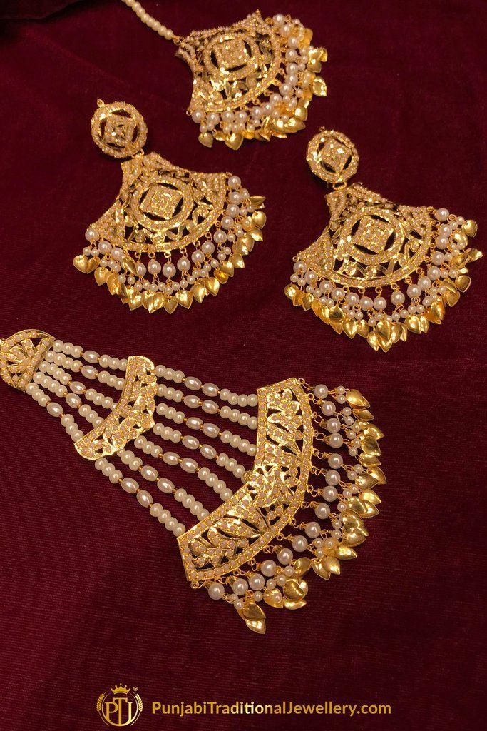 945705f31 Gold Finished Pippal Patti Jadau Earring Tikka Set With Passa By Punjabi  Traditional Jewellery