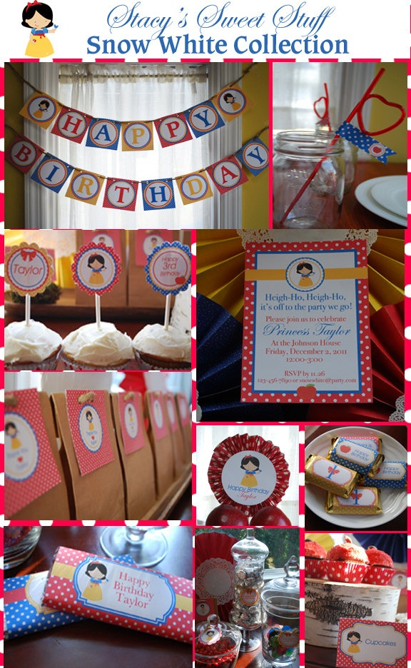 DIY Printable Party Package: Snow White Birthday Collection. $20.00, via Etsy.