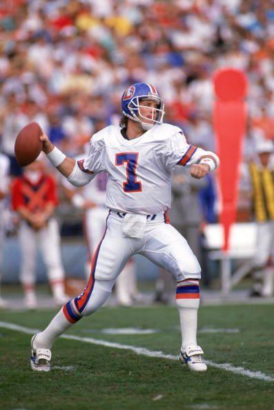 Quarterback John Elway of the Denver Broncos