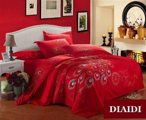 amazoncom diaidi peacock bedding set luxury red bedding sets modern
