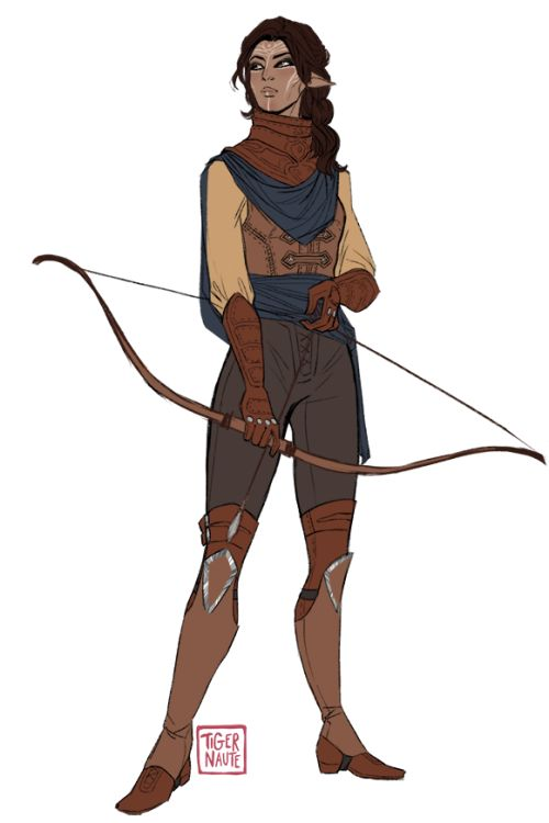 "tigernaute:  Aaaah I managed to finish it tonight :))Her name's Ira - [pronounced ""eera""]I created her because of my new skyrim character, and yet she's desert-themed, I want to explore new background possibilities and headcanons about desert dalish clans"