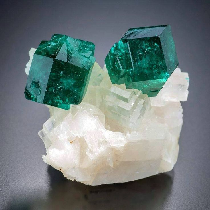 Dioptase with Calcite from Tsumeb Mine, Tsumeb, Oshikoto, Namibia
