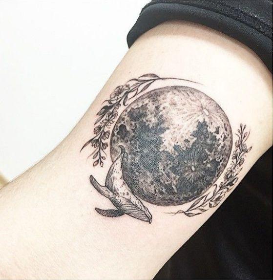 Tatuaje De Luna Llena Para Hombres En El Brazo Arm Tattoo Moon