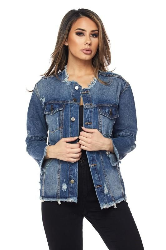 92779ad2353d Distressed Collarless Denim Jean Frayed Jacket in 2019 | clothes ...