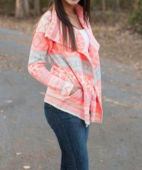 Stylish Turn-Down Collar Long Sleeve Printed Pocket Design Cardigan For Women