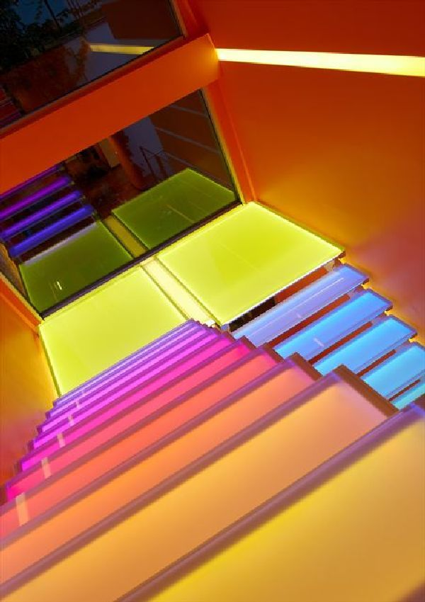 Colorful Staircase Lighting - Futuristic Orange House in Ankara, Turkey by Yazgan Design Architecture