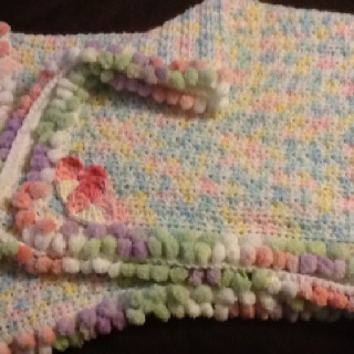 My baby blanket . Chain 100 Half Double crochet all the way across. Then Half Double crochet on ...