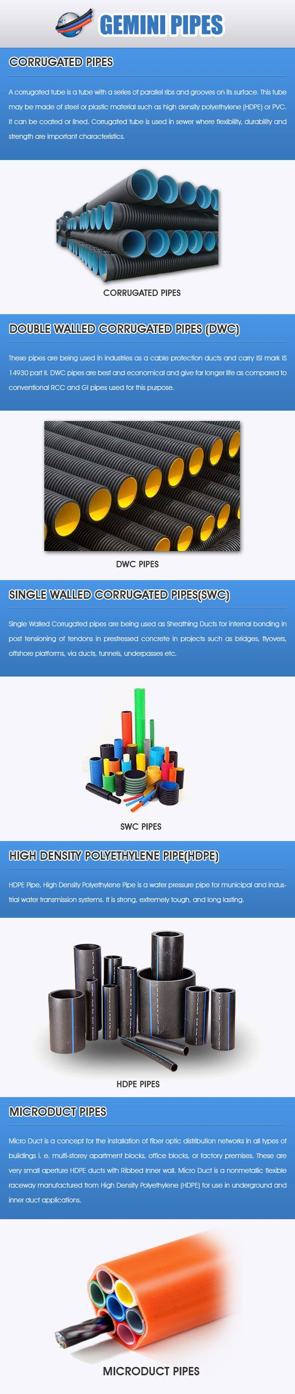 Gemini pipes provides Corrugated pipes, Double wall corrugated pipes, single wall corrugated pipes, Microduct pipes and High density plastic pipes.