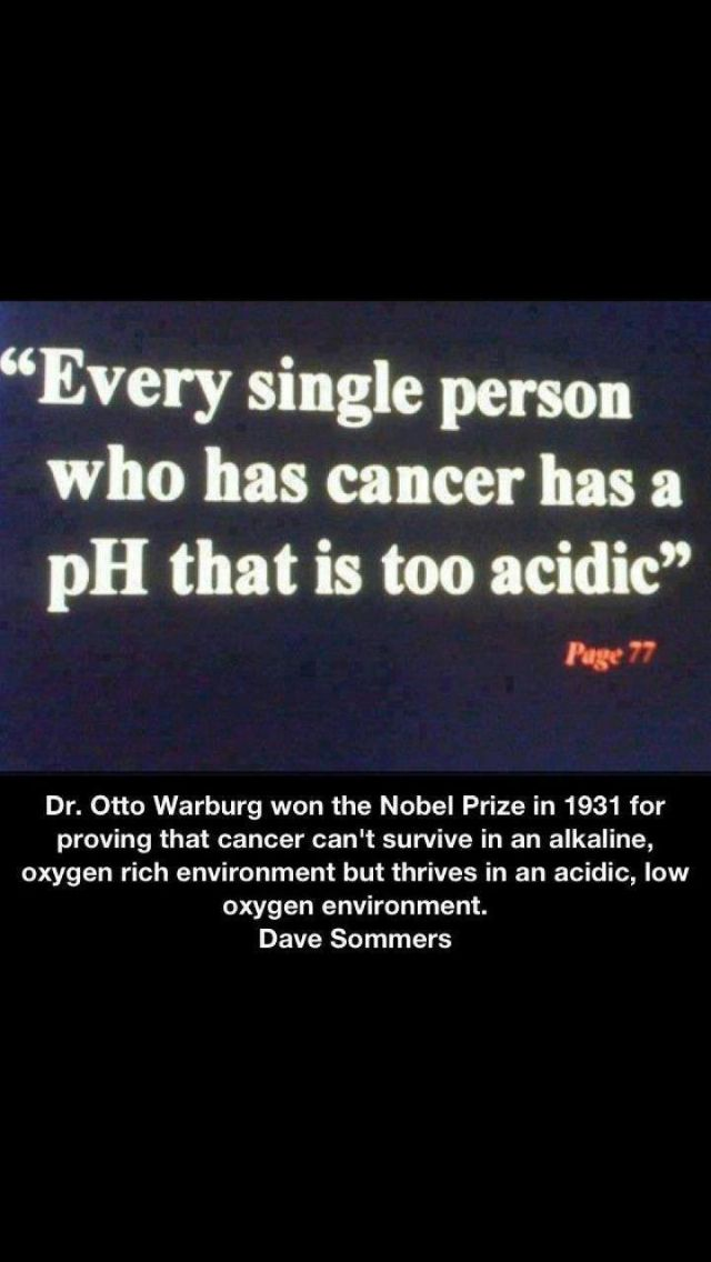 Food is either Poison or Medicine lets think on that when we shop for groceries EVERY SINGLE PERSON WHO HAS CANCER HAS A BODY PH THAT IS TOO ACIDIC.