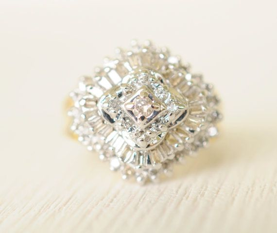 1980's / vintage 1 Carat diamond ring / baguette and round diamonds / 14k gold engagement wedding ring // HALLEY