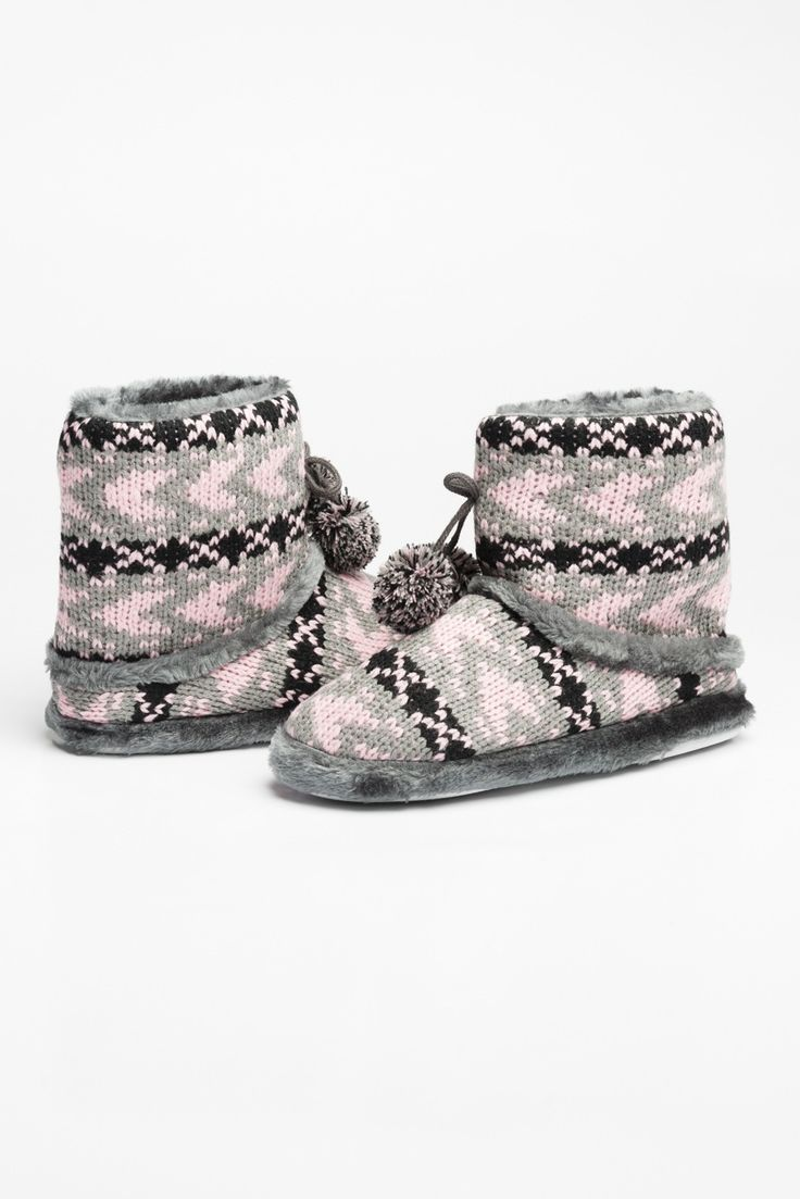 Pink & grey knit bootie slippers