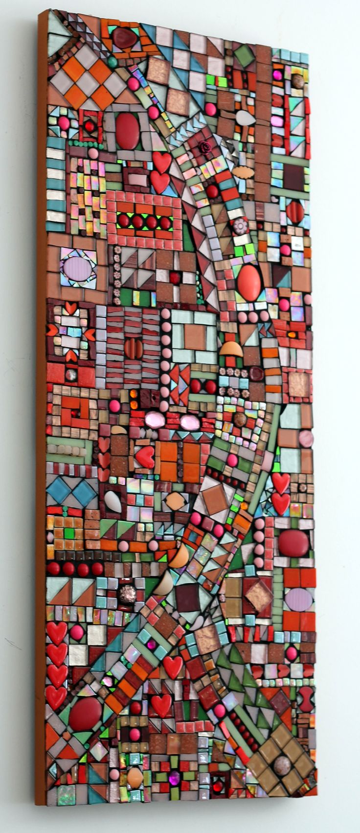 """Checkered Path"".  Intricate collection of vintage and synthetic materials tastefully bring this custom hand cut #mosaic panel alive! Dimensions are 21"" x 36"". Inquiries welcome.  More of Ariel Shoemaker's work can be found on her website at http://www.mosaicsbyariel.com"
