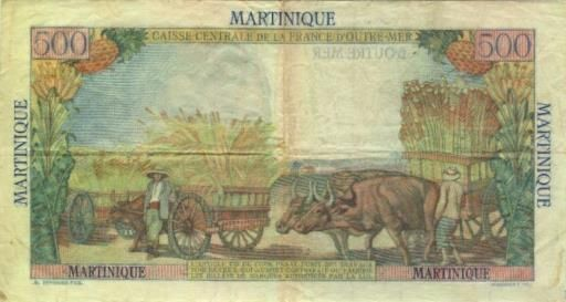 500 Francs type 1946 Pointe à Pitre (verso).