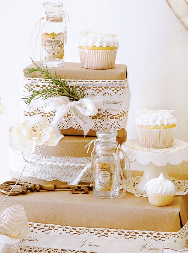 """LOVE the idea of using parchment paper or grocery bags with lace or doilies as """"cake stands"""" for a party or shower!"""