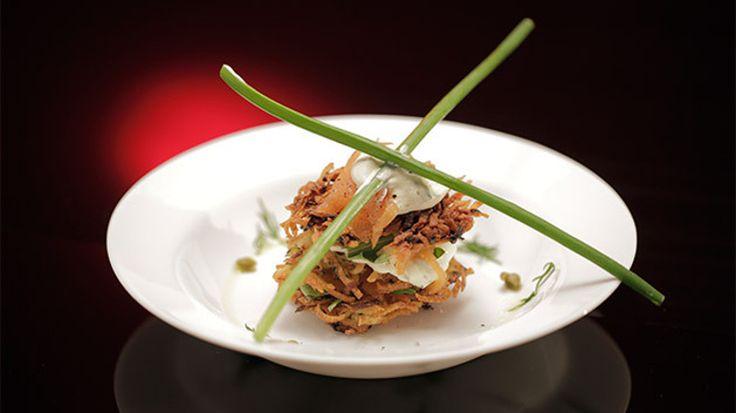 Zucchini and Potato Rösti Stack with Smoked Salmon and Crème Fraîche
