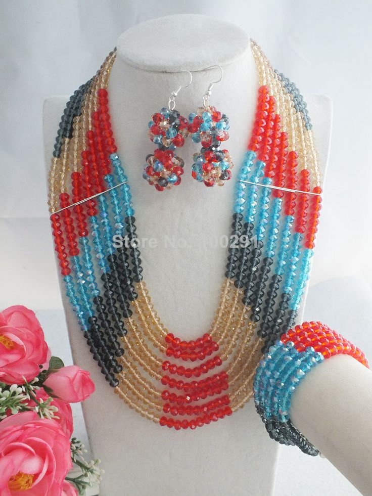 Free Shipping !! W-1050 African Beads Jewelry Set,Mixed Colors Crystal Necklace $63.18