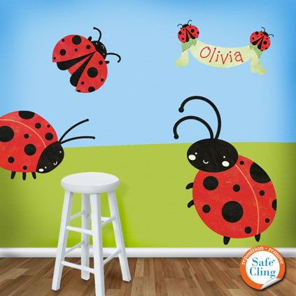 Ladybug Wall Stickers Decals - Girls Room Ladybug Room Wall Art. $84.99, via Etsy.