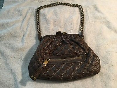 Marc-Jacobs-Brown-Quilted-Leather-Shoulder-Bag-Purse-Chain-Strap