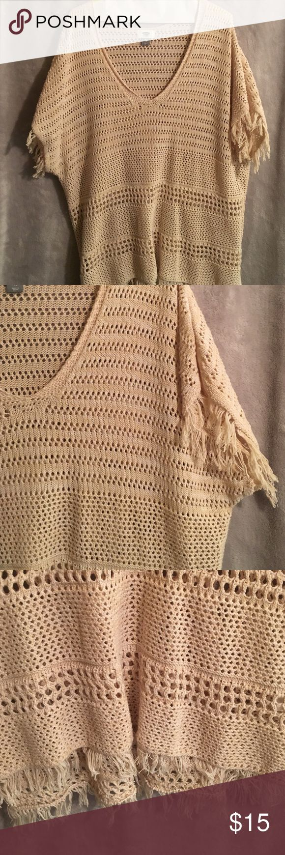 Big Woven Sweater with Fringes! WORN ONCE!😍 Extremely lightweight woven sweater with fringes and sleeves. Cream/beige color. Very summery design, cute when paired with jeans and flip flops! Worn once! 🤗 Old Navy Sweaters Crew & Scoop Necks
