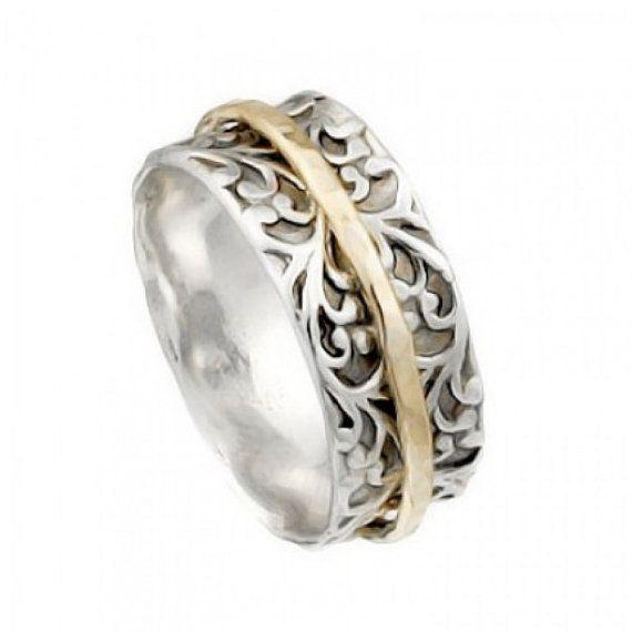 Plata anillo con bandas de Goldfilled de giro