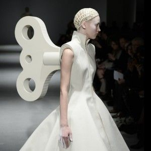 """Gareth Pugh (Autumn Winter 2014 show during Paris Fashion Week) """"dresses models like abominable  snowmen and wind-up toys.""""  Abominable!"""