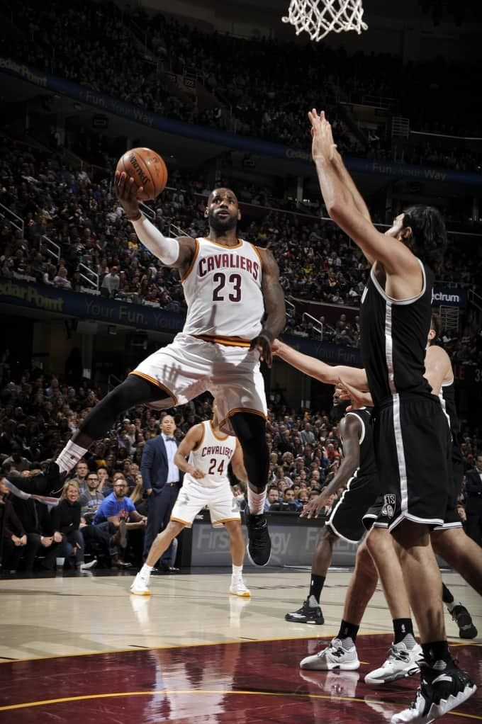 LeBron James #23 of the Cleveland Cavaliers shoots the ball against the Brooklyn Nets on January 27, 2017 at Quicken Loans Arena in Cleveland, Ohio.