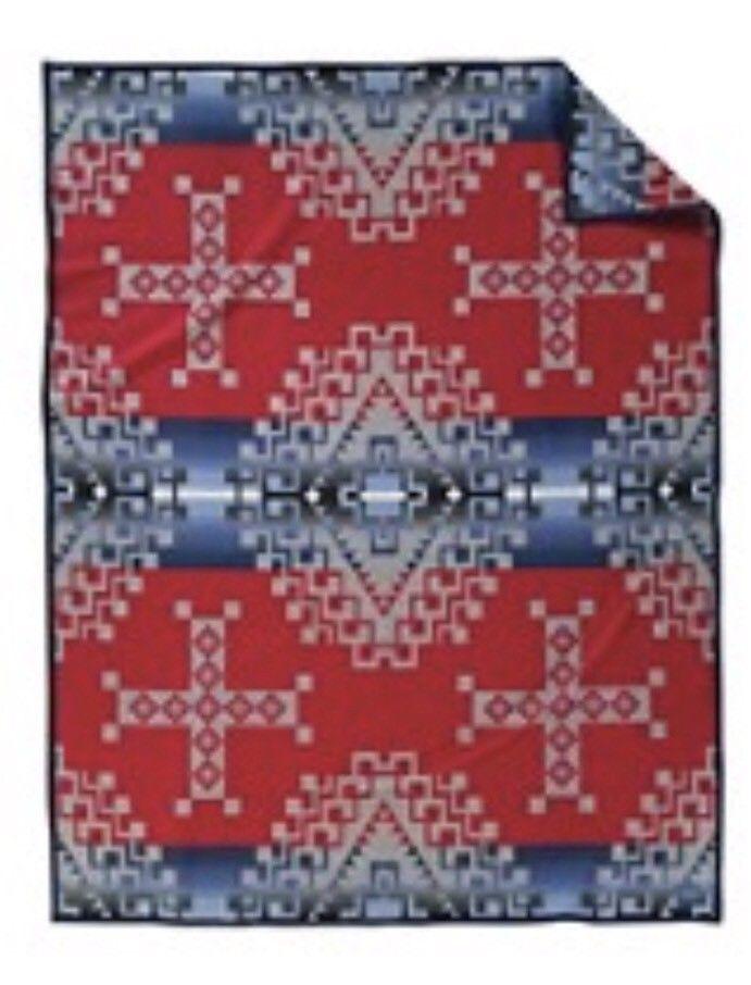 "NWT Beaver State Pendleton Wool Blanket  Grey, Red , Blue 64"" x 80"" Ruby River #PendletonWoolenMills"