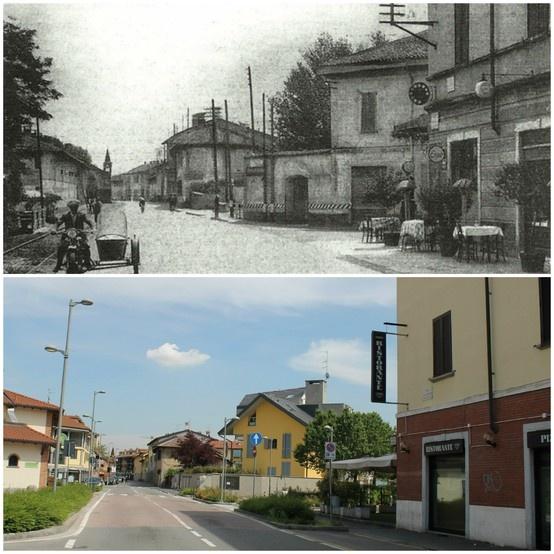 Settimo Milanese. Ripresa della via Novara direzione Milano. anni '30 - 2013  (45°29'19.32''N 9°03'11.52''E  45.489064,9.052826)