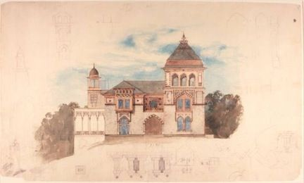 F. E. Church's watercolor sketch for the Southwest façade of the house at Olana c.1870, Collection Olana This is Frederic Church's watercolor sketch of the Southwest façade of the house at Olana, c. 1870, Olana Collection.  #architectureMW #museumweek #olanashs