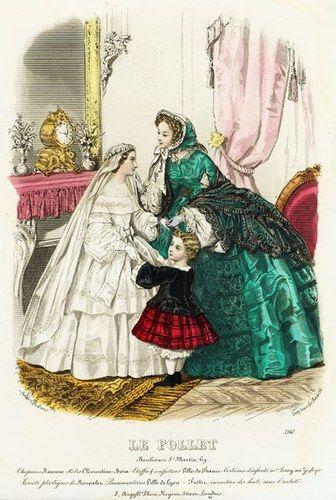 1858 - détails à copier :berthe, ceinture nouée devant, voile retenu par une couronne de fleurs, jupe à deux tiers brodés