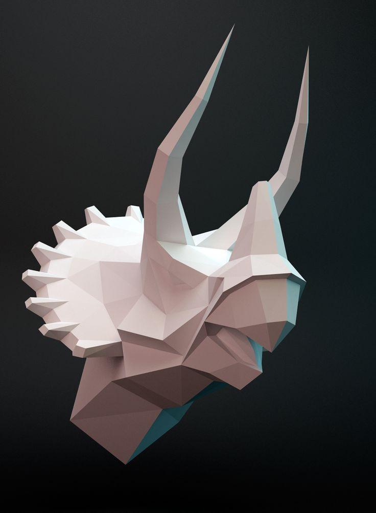 Trizeratops. 3D papercraft model. Downloadable