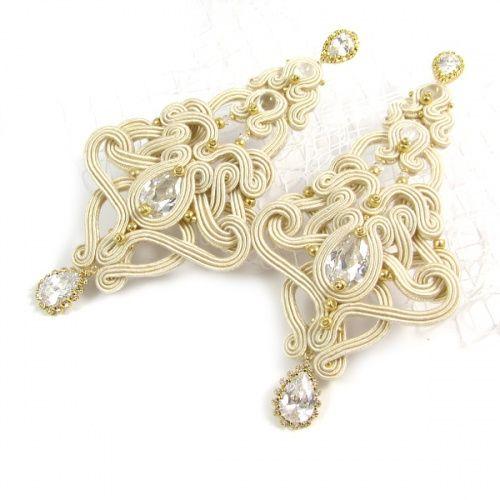 Dual sided, soutache, bridal earrings. www.pillowdesign.pl #bridal #bridalearrings #bride #soutache #zircon #gold