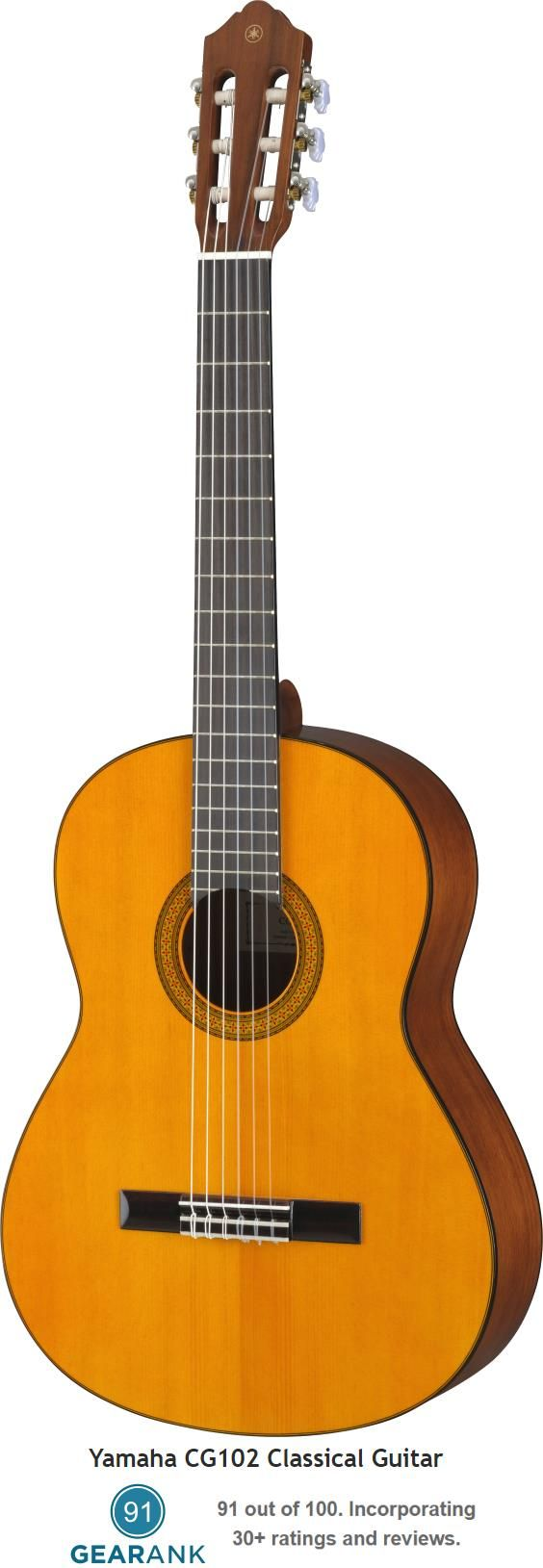 The Yamaha CG102 is the lowest priced classical guitar offered by Yamaha (not counting the C40 nylon string student guitar) and has a street price of $199.99. For a buying guide to Classical & Nylon String Guitars see https://www.gearank.com/guides/nylon-string-guitar