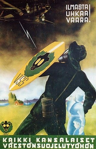 """Finnish WW2 poster Text: """"Danger Threatens from the sky, Take Air Raid Precautions"""""""