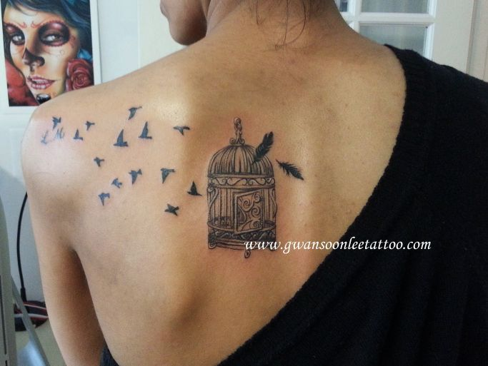 18ccbf743 Flying birds from cage tattoo on shoulder blade | Tattoos | Cage tattoos,  Bird shoulder tattoos, Shoulder tattoo