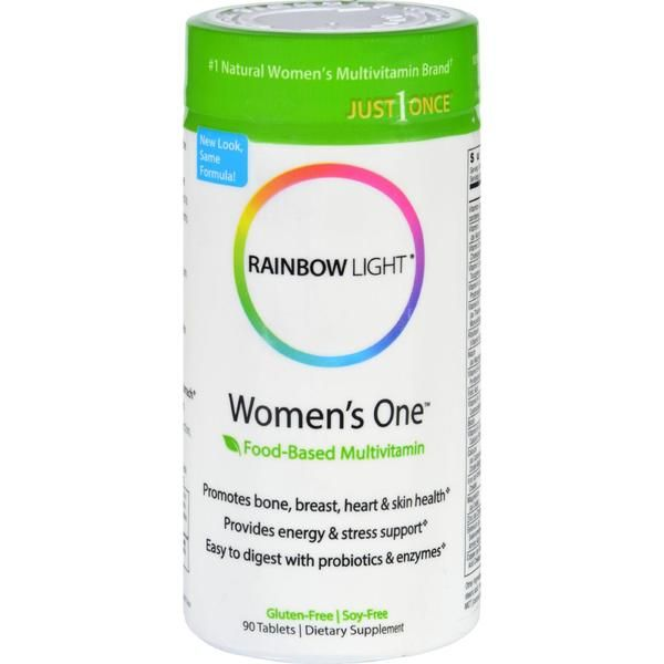 Rainbow Light Women's One Food-Based Multivitamin Description: Heart, Bone and Breast Health 800 IU Vitamin D3 and Probiotics Gentle on the Stomach Just 1 Once