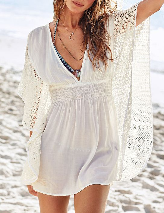 Vestido encaje Crochet cuello V-beige