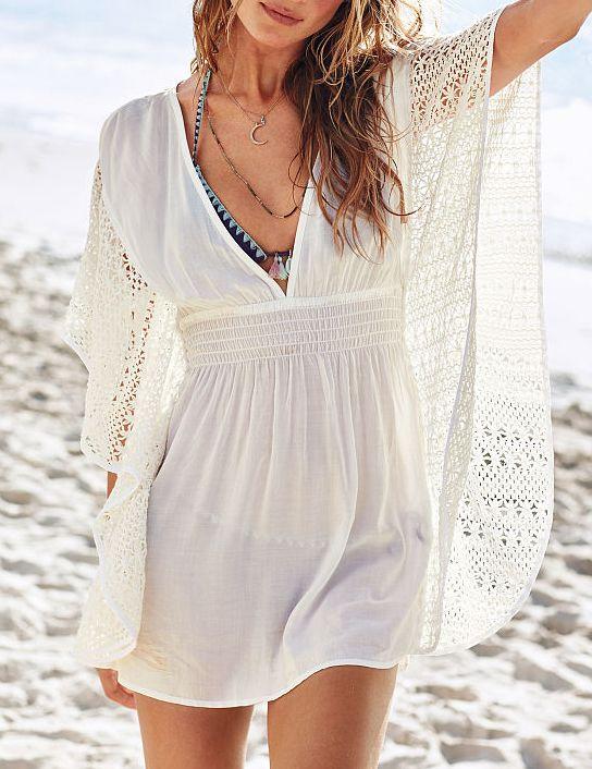 Beige Deep V Neck Crochet Lace Dress - Sheinside.com