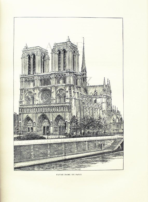 1889 vintage notre dame cathedral paris monuments vintage for Black and white paris wall mural