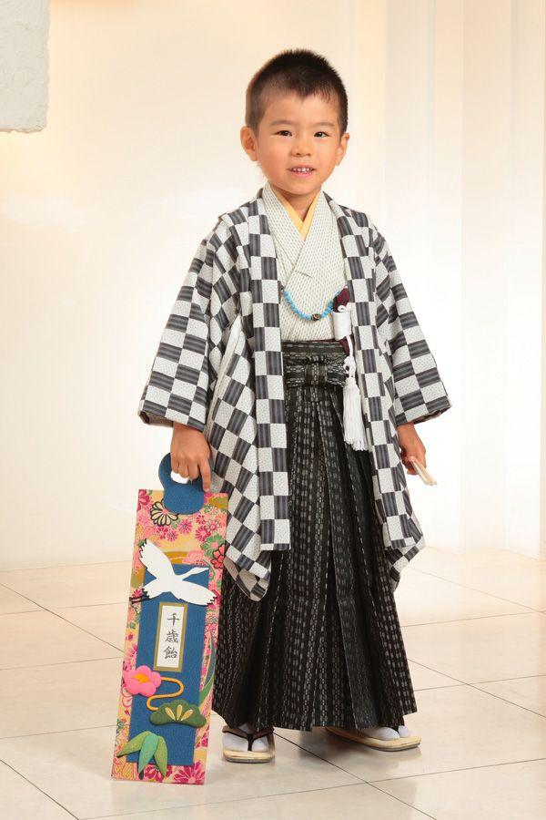 七五三 男児 5才 白黒格子 衣装レンタル 往復送料無料【smtb-k】【kb】【楽天市場】