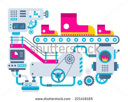 Vector industrial illustration background of the factory for manufacture sneakers. Color bright flat design for banner, web, site, advertising, print, poster. - stock vector