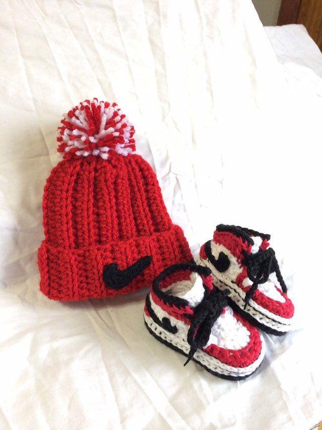 2f333d3aabe Crochet Jordans- Crochet Baby Hat   Shoes - Crochet Baby Nike - Baby Nike  Set - Baby Sneakers - Crochet Booties - Baby Gift  crochet   crochetforbabies ...