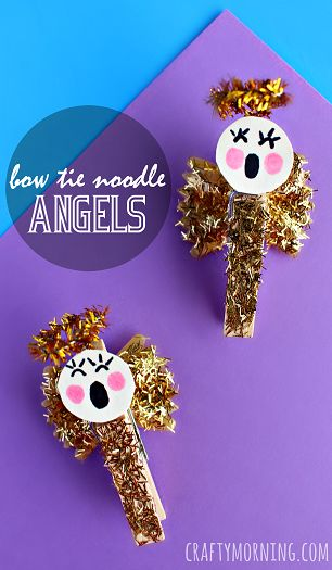 Bow Tie Noodle Angel Craft - Great Christmas craft for kids to make! #Clothespin | CraftyMorning.com